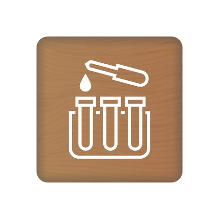 Test Tube Icon On Wooden Blocks Isolated On A White Background. Vector Illustration. Healthcare Concept.