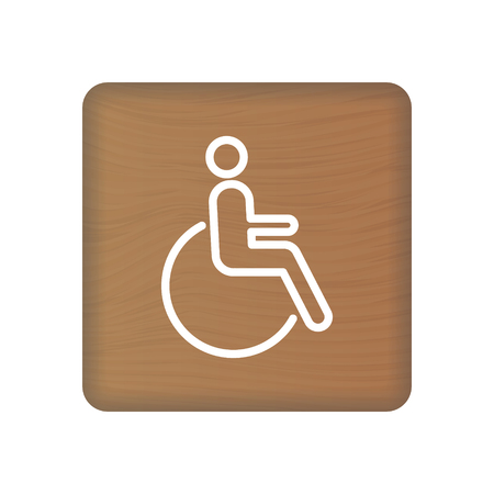 Disabled, Human With Disabilities Icon On Wooden Blocks Isolated On A White Background. Vector Illustration. Healthcare Concept.