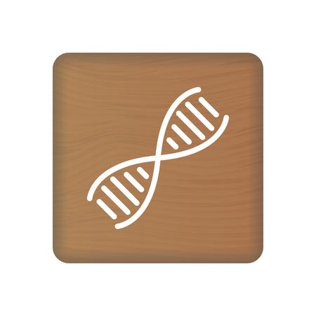 Human DNA, Genetics Icon On Wooden Blocks Isolated On A White Background. Vector Illustration. Healthcare Concept. Ilustração