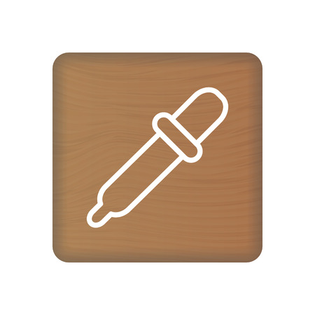 Dropper Icon On Wooden Blocks Isolated On A White Background. Vector Illustration. Healthcare Concept. Illustration