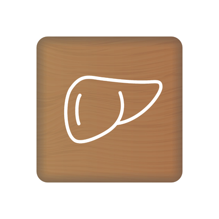 Human Liver Icon. An Internal Organ Vector. Human Anatomy Illustration. Sign Symbol For Medical Presentation On Wooden Blocks Isolated On A White Background. Vector Illustration. Healthcare Concept. Illustration
