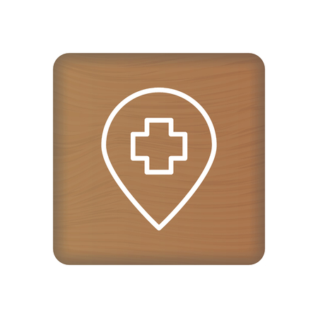 Hospital Icon On Wooden Blocks Isolated On A White Background. Vector Illustration. Healthcare Concept. Çizim