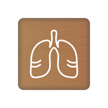 Human Lungs Icon. An Internal Organ Vector. Human Anatomy Illustration. Sign Symbol For Medical Presentation On Wooden Blocks Isolated On A White Background. Vector Illustration. Healthcare Concept.