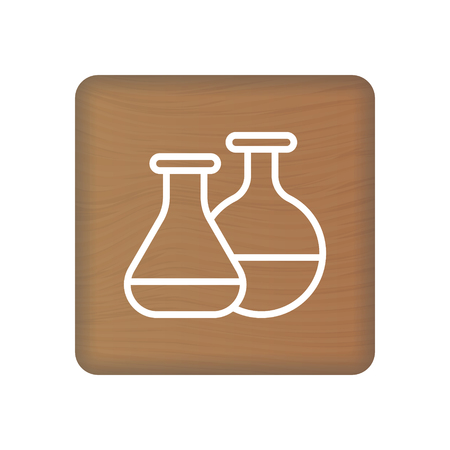 Medical Lab Icon On Wooden Blocks Isolated On A White Background. Vector Illustration. Healthcare Concept.