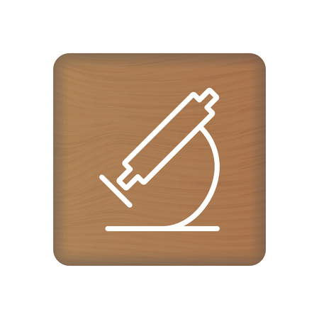 Microscope Icon On Wooden Blocks Isolated On A White Background. Vector Illustration. Healthcare Concept. Stock Vector - 124954371
