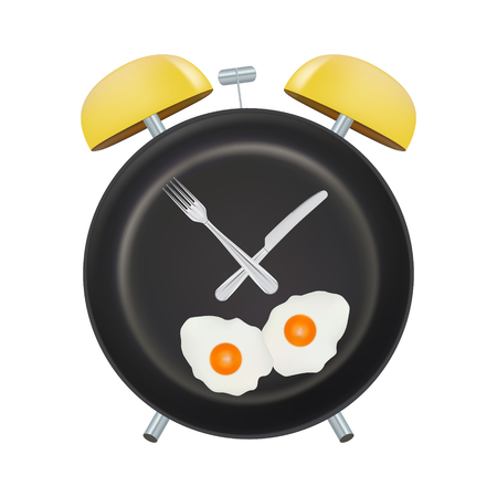 Alarm Clock Face With A Fork And Spoon Isolated On A White Background. Concept Of Intermittent Fasting, Lunchtime, Diet And Weight Loss. Vector Illustration. Healthcare Concept. Illustration