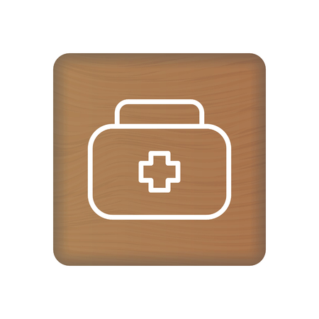 First Aid Icon On Wooden Blocks Isolated On A White Background. Vector Illustration. Healthcare Concept.