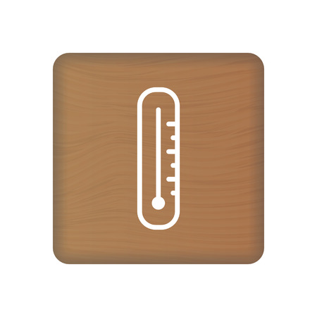 Thermometer Icon On Wooden Blocks Isolated On A White Background. Vector Illustration. Healthcare Concept.