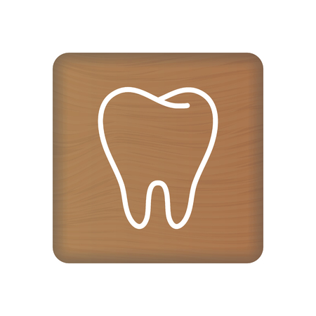 Human Tooth Icon. An Internal Organ Vector. Human Anatomy Illustration. Sign Symbol For Medical Presentation On Wooden Blocks Isolated On A White Background. Vector Illustration. Healthcare Concept.