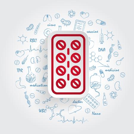 Pills Strip Vector Icon on handdrawn healthcare doodles background. Healthcare illustration Ilustração