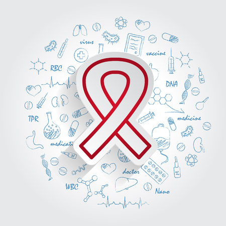 Awareness Ribbon icon and handdrawn healthcare doodles background. Vector Ilustrace
