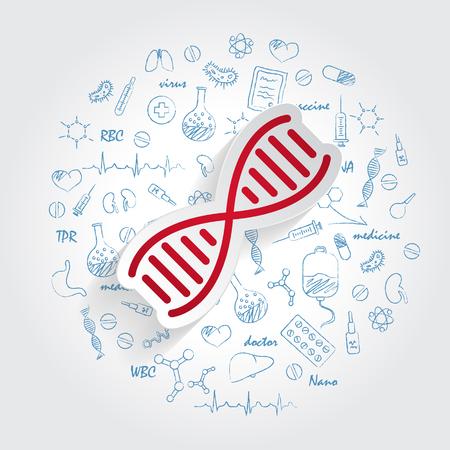 DNA icon vector on handdrawn healthcare doodles background. Modern simple life evolution sign. Business, internet concept. Trendy vector biology gene symbol for website design, web. Logo chromosome illustration. Vector Illustration