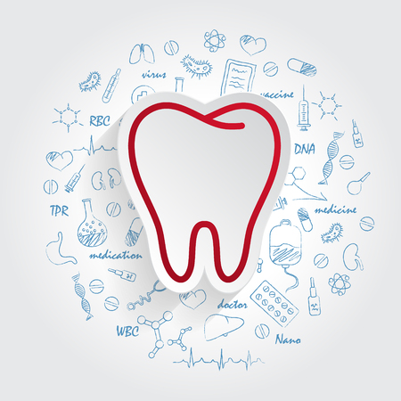 Tooth vector silhouette on handdrawn healthcare doodles background. Tooth Icon Vector. Illustration