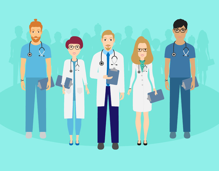 Set of doctors characters. Medical team concept in vector illustration design. Eps 10