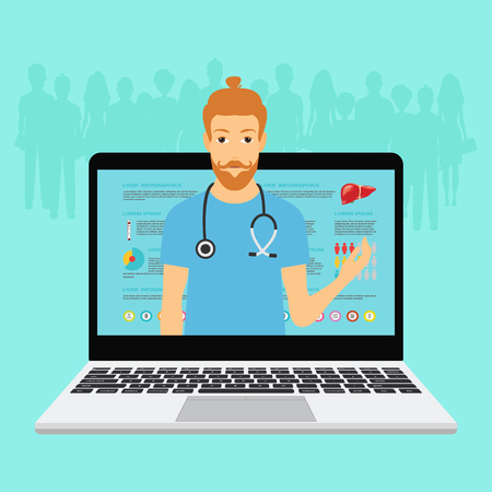 Hipster Doctor with online medical consultation concept, Healthcare services, Ask a doctor. Vector illustration