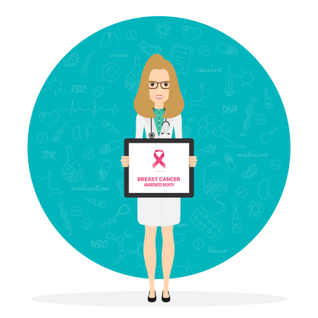 Female doctor pointing at medical clipboard. 4 February world cancer day horizontal poster. Vector Illustration