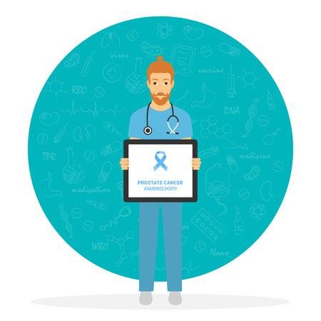 Illustration of prostate cancer doctor, awareness ribbon, vector illustration, medical concept  イラスト・ベクター素材