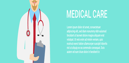 Medical background with close up of doctor with stethoscope. Vector illustration, eps 10