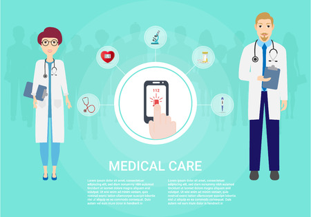 Concept healthcare. Medical background. Set icons of medical equipment. Doctor and patient isolated on background. Vector illustration