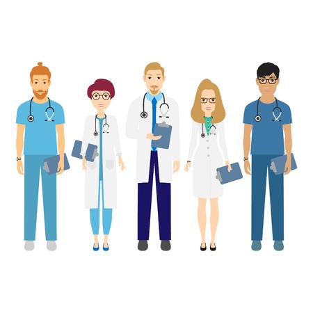 Hospital medical staff team doctors nurses surgeon vector illustration