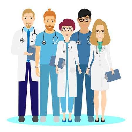 Doctor set Medical team in clinic vector illustration, eps 10