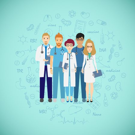 Medicine team concept with different doctors. Group of practitioner doctors young man and woman standing together. Consultation. Vector illustration