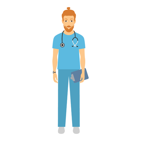 Cheerful male doctor. Vector illustration of a smiling doctor