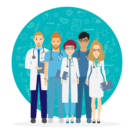 Doctors. Team of medical workers on a background. Hospital staff. Vector illustration eps 10 in cartoon style