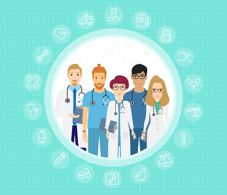 Vector illustration of doctors team. Happy and smile medical workers. Hospital staff in uniform in cartoon flat style. Eps 10