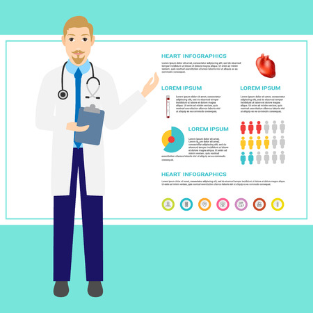 Heart disease prevention. Doctor with health infographics. Medical care infographic. illustration vector design. Eps 10