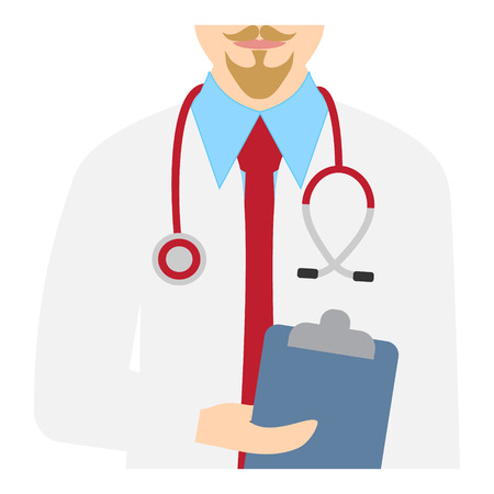 Cheerful male doctor. Vector illustration of a doctor