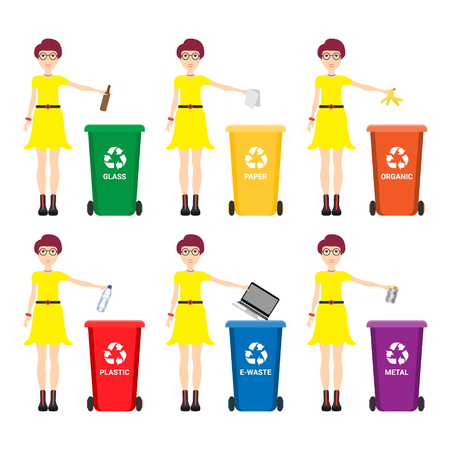 Caucasian woman throwing away garbage. Woman standing near six bins and throwing away garbage in an appropriate bin. Concept of garbage separation. Vector flat design illustration. Square layout.