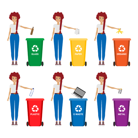 Woman with trash vector illustration. Keep clean and garbage sorting concept Ilustracja