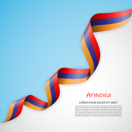 Vector banner in white and blue colors and waving ribbon with flag of Armenia. Template for poster design, brochures, printed materials, logos, independence day. National flags