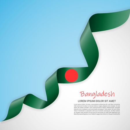 Vector banner in white and blue colors and waving ribbon with flag of Bangladesh. Template for poster design, brochures, printed materials, logos, independence day. National flags  イラスト・ベクター素材