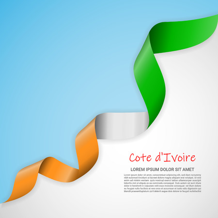 Vector banner in white and blue colors and waving ribbon with flag of Cotedivoire. Template for poster design, brochures, printed materials, logos, independence day. National flags