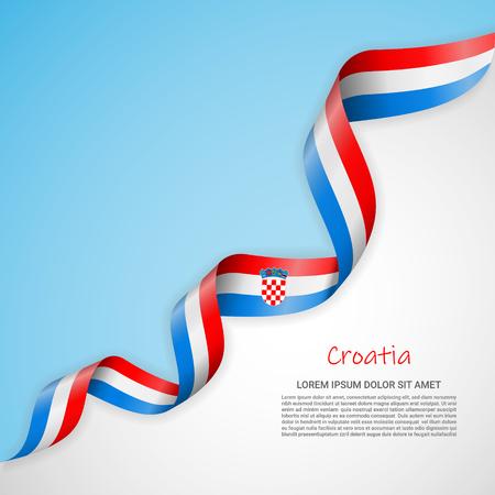 Vektorbanner in weißen und blauen Farben und wehendes Band mit Flagge Kroatiens. Vorlage für Posterdesign, Broschüren, Drucksachen, Logos, Unabhängigkeitstag. Nationalflaggen Logo