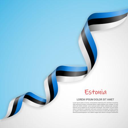 Vektorbanner in weißen und blauen Farben und wehendes Band mit Flagge Estlands. Vorlage für Posterdesign, Broschüren, Drucksachen, Logos, Unabhängigkeitstag. Nationalflaggen