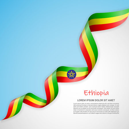 Vector banner in white and blue colors and waving ribbon with flag of Ethiopia. Template for poster design, brochures, printed materials, logos, independence day. National flags