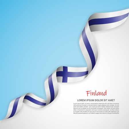 Vector banner in white and blue colors and waving ribbon with flag of Finland. Template for poster design, brochures, printed materials, logos, independence day. National flags Stock Vector - 124210368