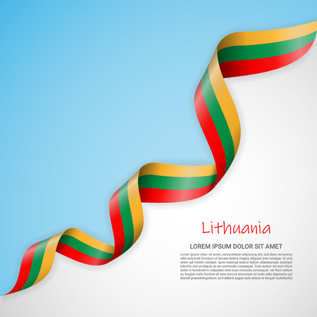 Vector banner in white and blue colors and waving ribbon with flag of Lithuania. Template for poster design, brochures, printed materials, logos, independence day. National flags