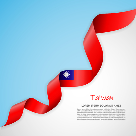 Vector banner in white and blue colors and waving ribbon with flag of Taiwan. Template for poster design, brochures, printed materials, logos, independence day. National flags