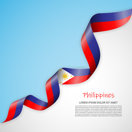 Vector banner in white and blue colors and waving ribbon with flag of Philippines. Template for poster design, brochures, printed materials, logos, independence day. National flags