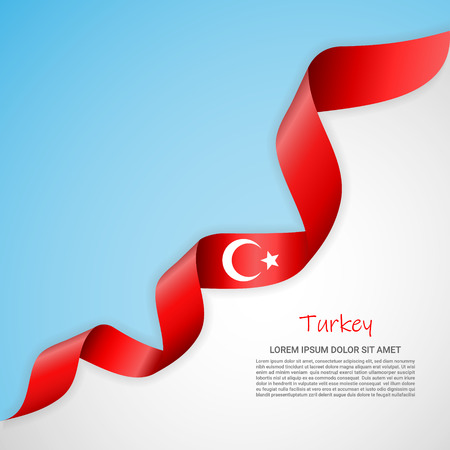 Vector banner in white and blue colors and waving ribbon with flag of Turkey. Template for poster design, brochures, printed materials, logos, independence day. National flags