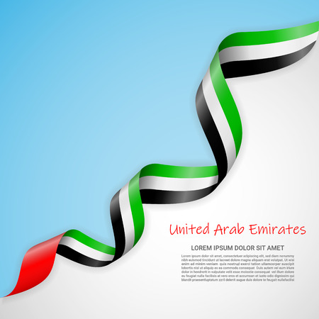 Vector banner in white and blue colors and waving ribbon with flag of United Arab Emirates. Template for poster design, brochures, printed materials, logos, independence day. National flags