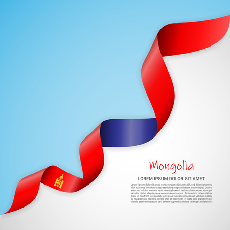 Vector banner in white and blue colors and waving ribbon with flag of Mongolia. Template for poster design, brochures, printed materials, logos, independence day. National flags Çizim