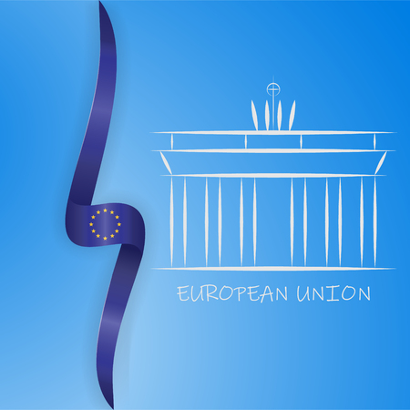 Germany line icon. Brandenburg gate and European Union flag vector illustration. EPS 10
