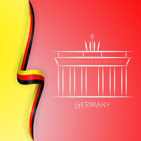 Germany flag wave and Brandenburg Gate, Brandenburger Tor. Vector illustration Vector Illustration