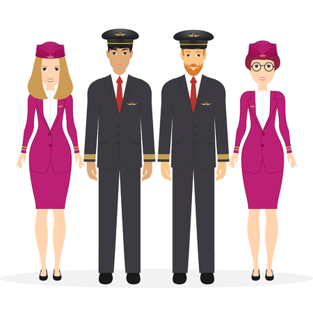Welcome to travel by plane. Pilot, capitan, flying attendants, air hostess. Vector illustration cartoon character. Eps 10 Vettoriali