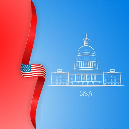 Contexte patriotique américain avec drapeau américain abstrait et symbole de la maison blanche et du Capitole de Washington DC. Affiche de la fête des présidents. Illustration vectorielle, eps 10.